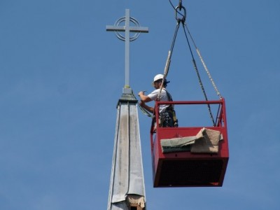 steeple cross being removed
